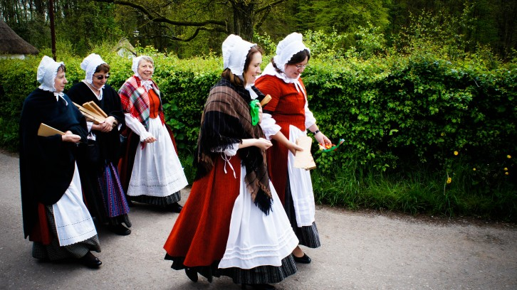 Celebrating May Day in traditional Welsh costume