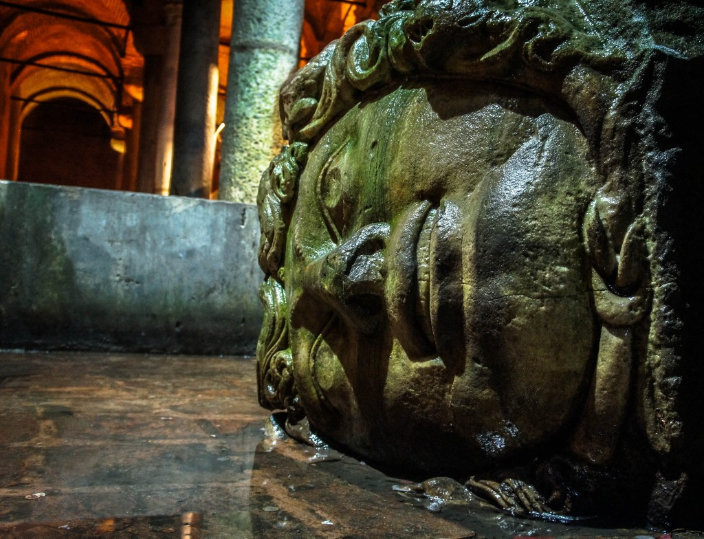 Sidelong, Medusa silently gazes upon visitors to the Basilica Cistern