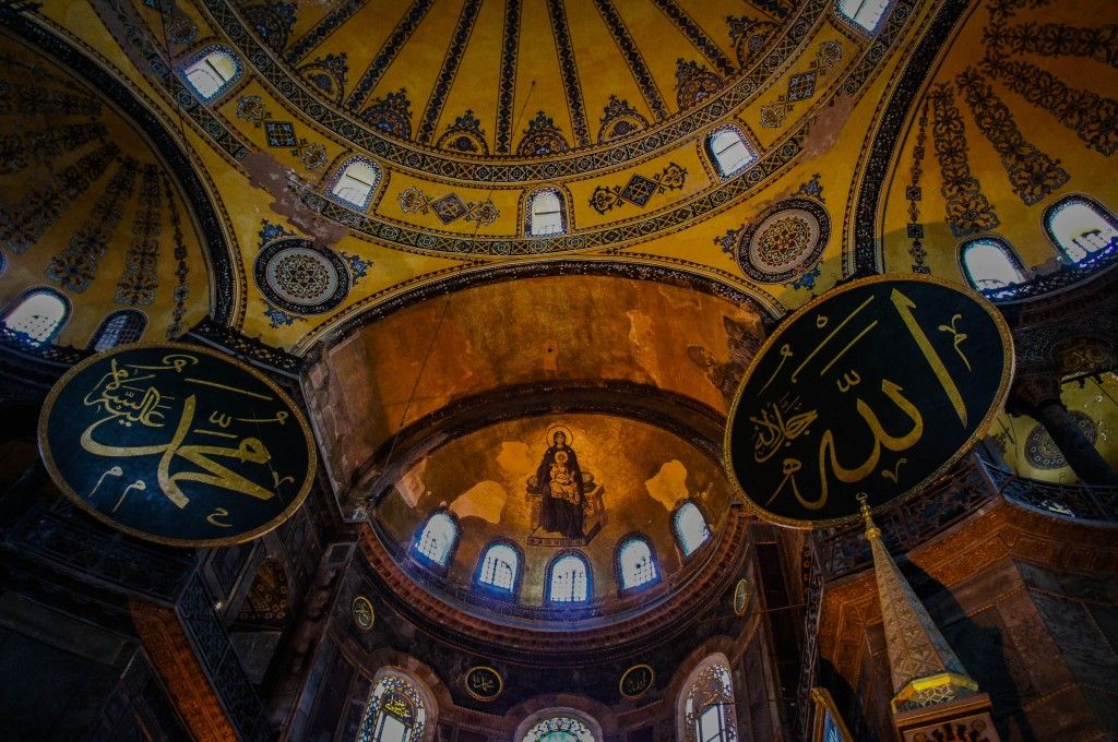 Islam and Christianity sit alongside one another inside the Aya Sofya.