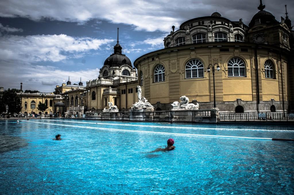 Outdoor swimming at Szechenyi baths.