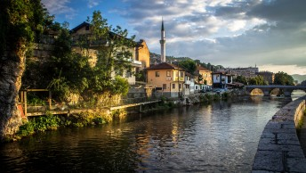 The Miljacka river runs right through Sarajevo.