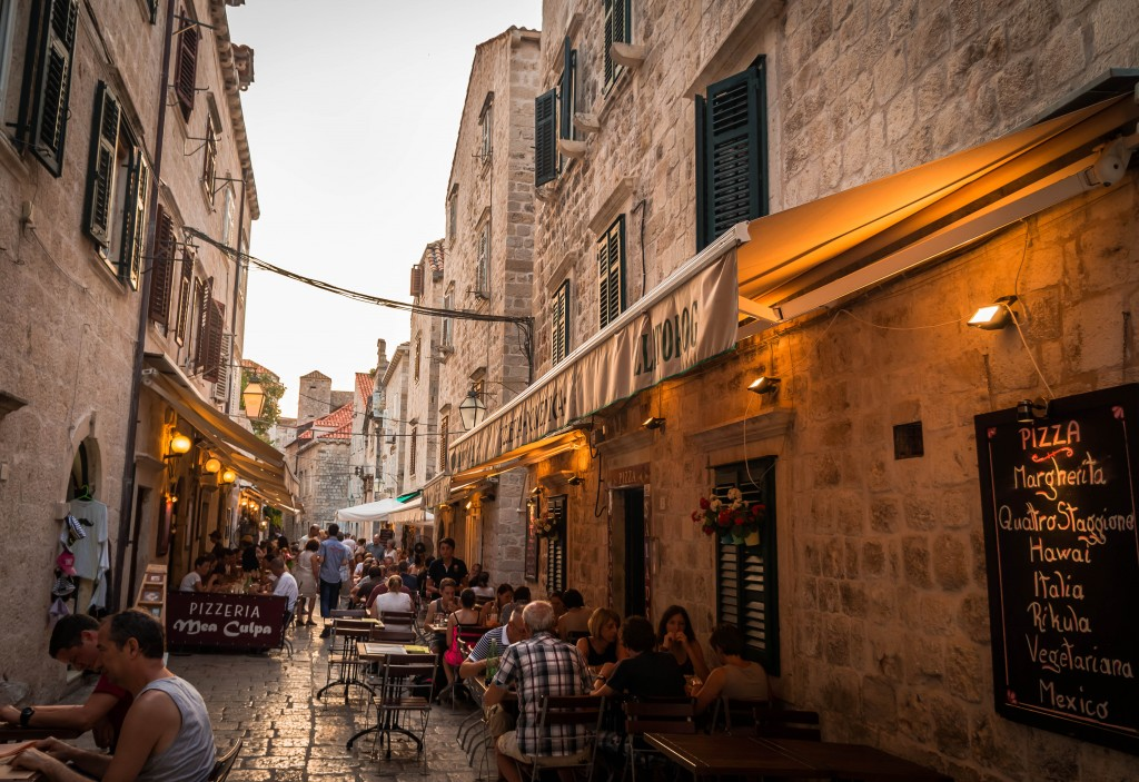 Restaurants inside the walls of Dubrovnik.