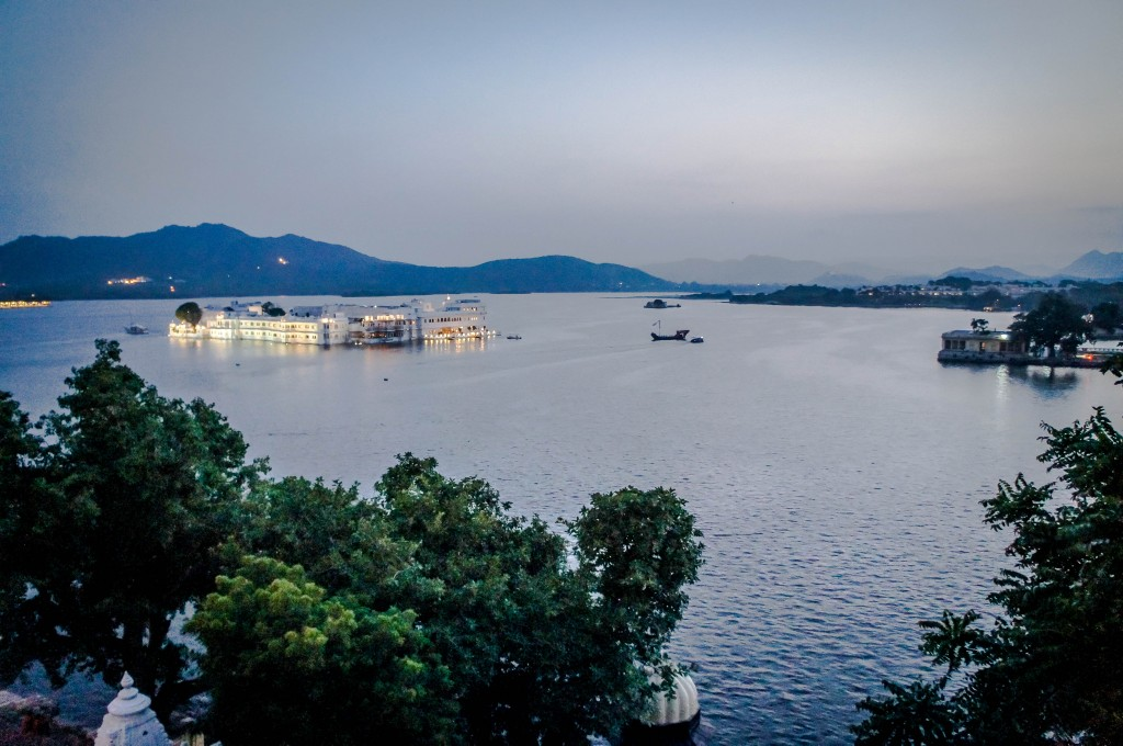 Lake Pichola under an almost full moon.