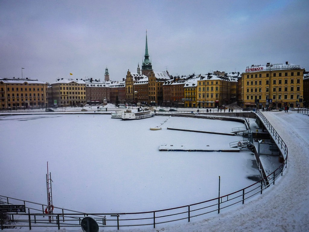 Gamla Stan surrounded by frozen water
