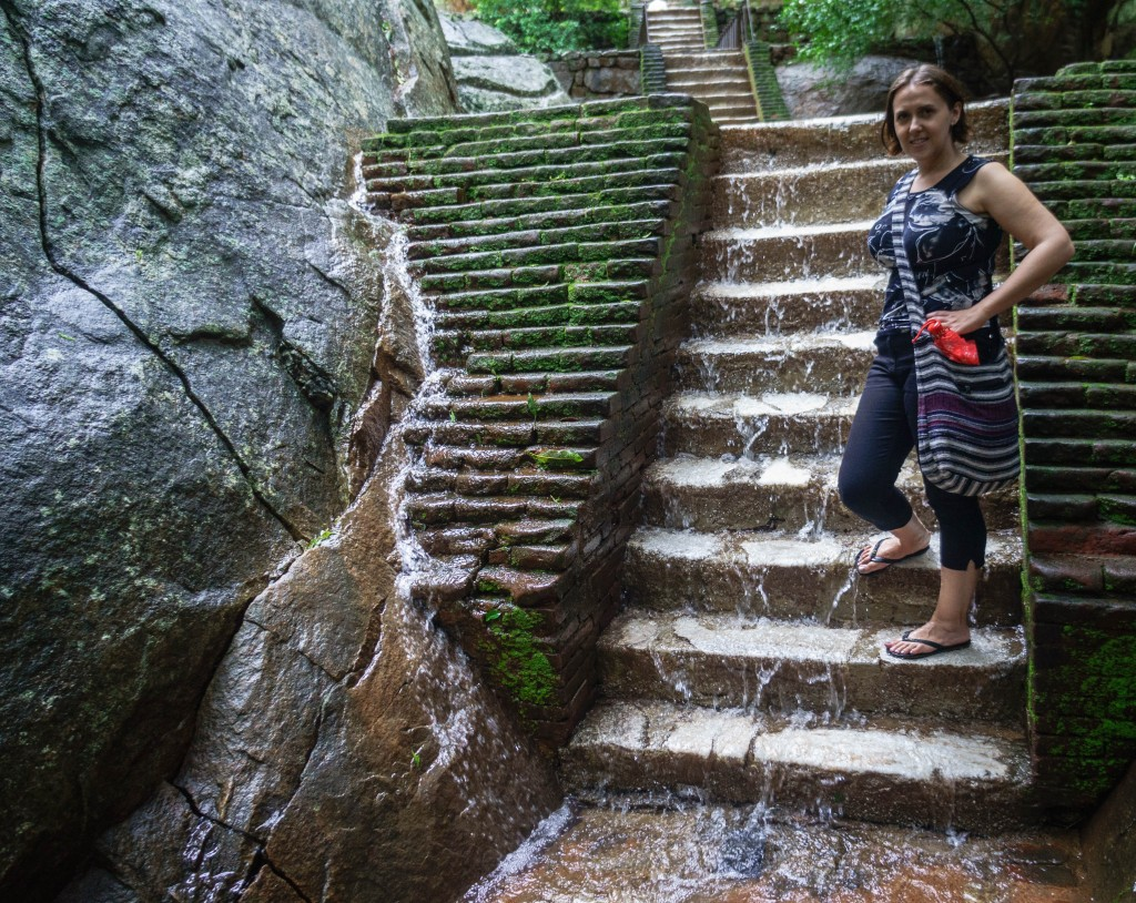At the bottom of Sigiriya - the water is already pouring over my feet.