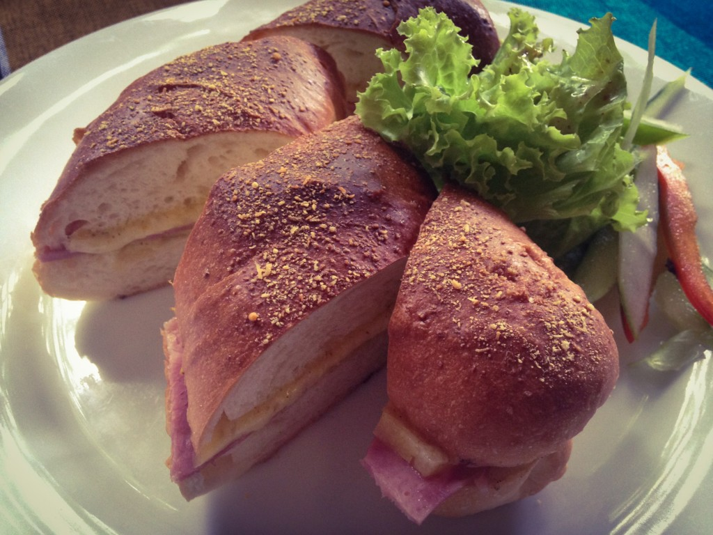 Cheese and ham sandwich from Barefoot Cafe.