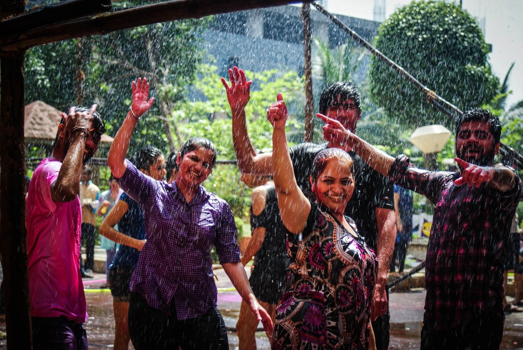 Dancing in the rain at Holi