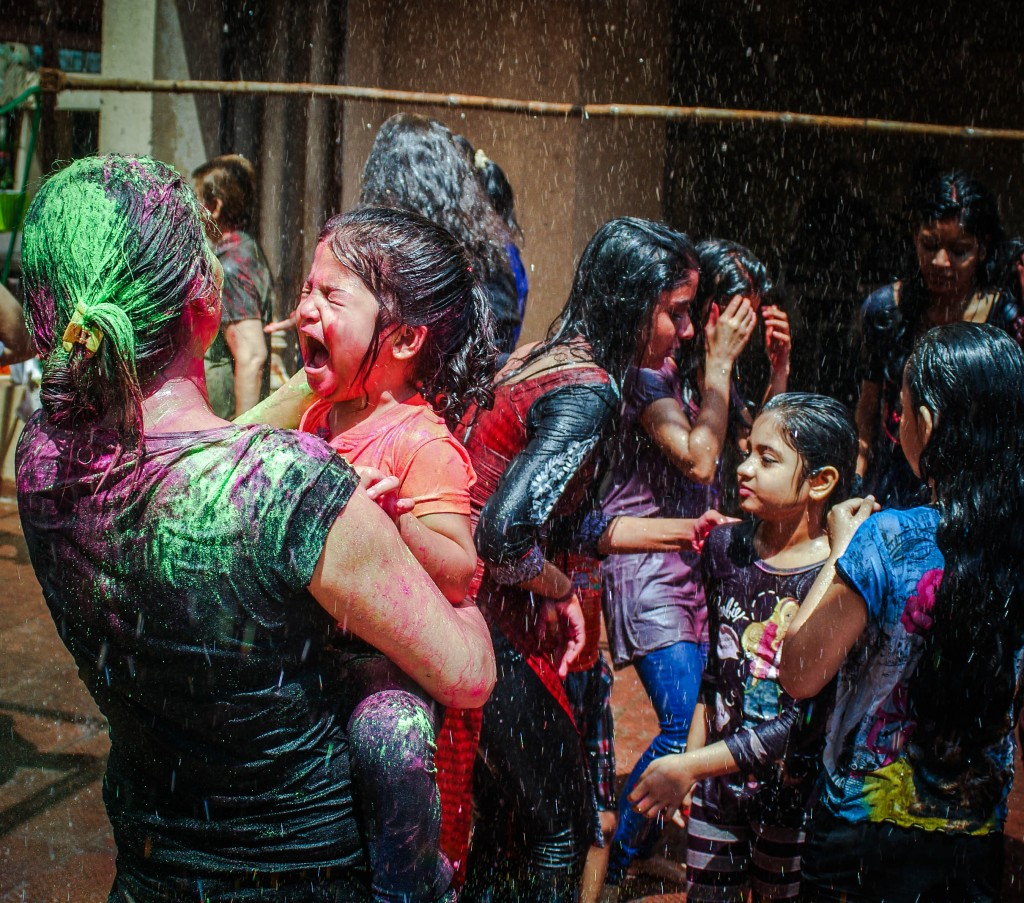 Child crying at Holi