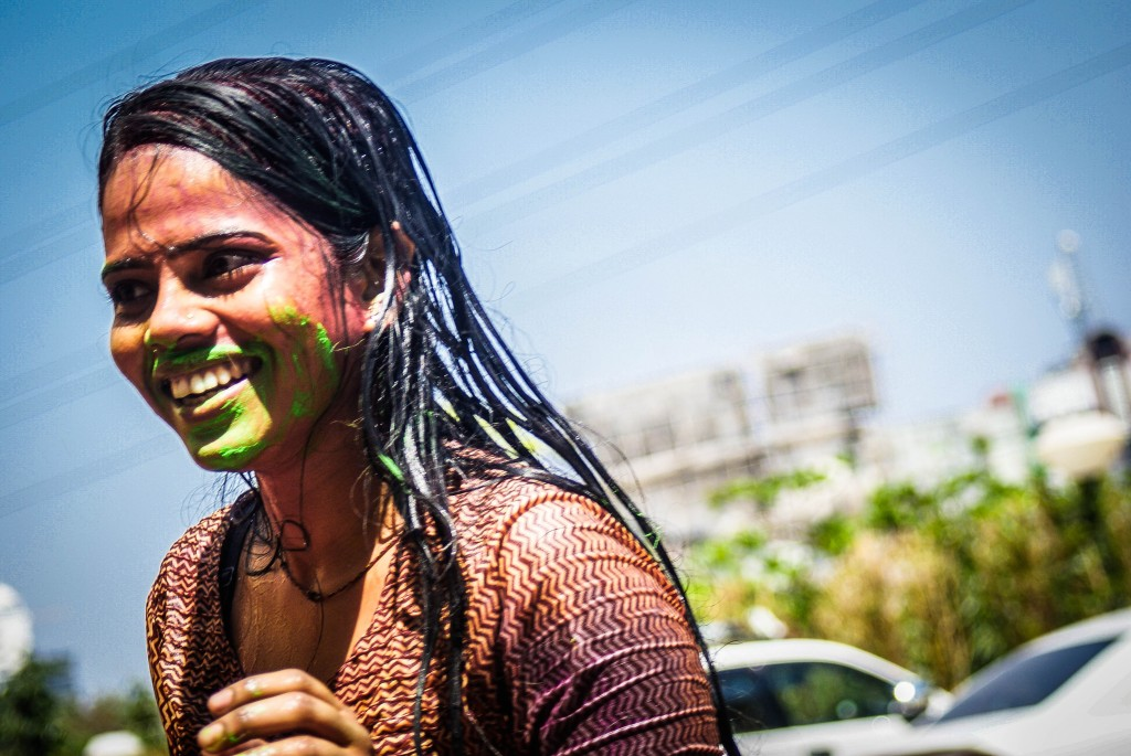 Child enjoying Holi