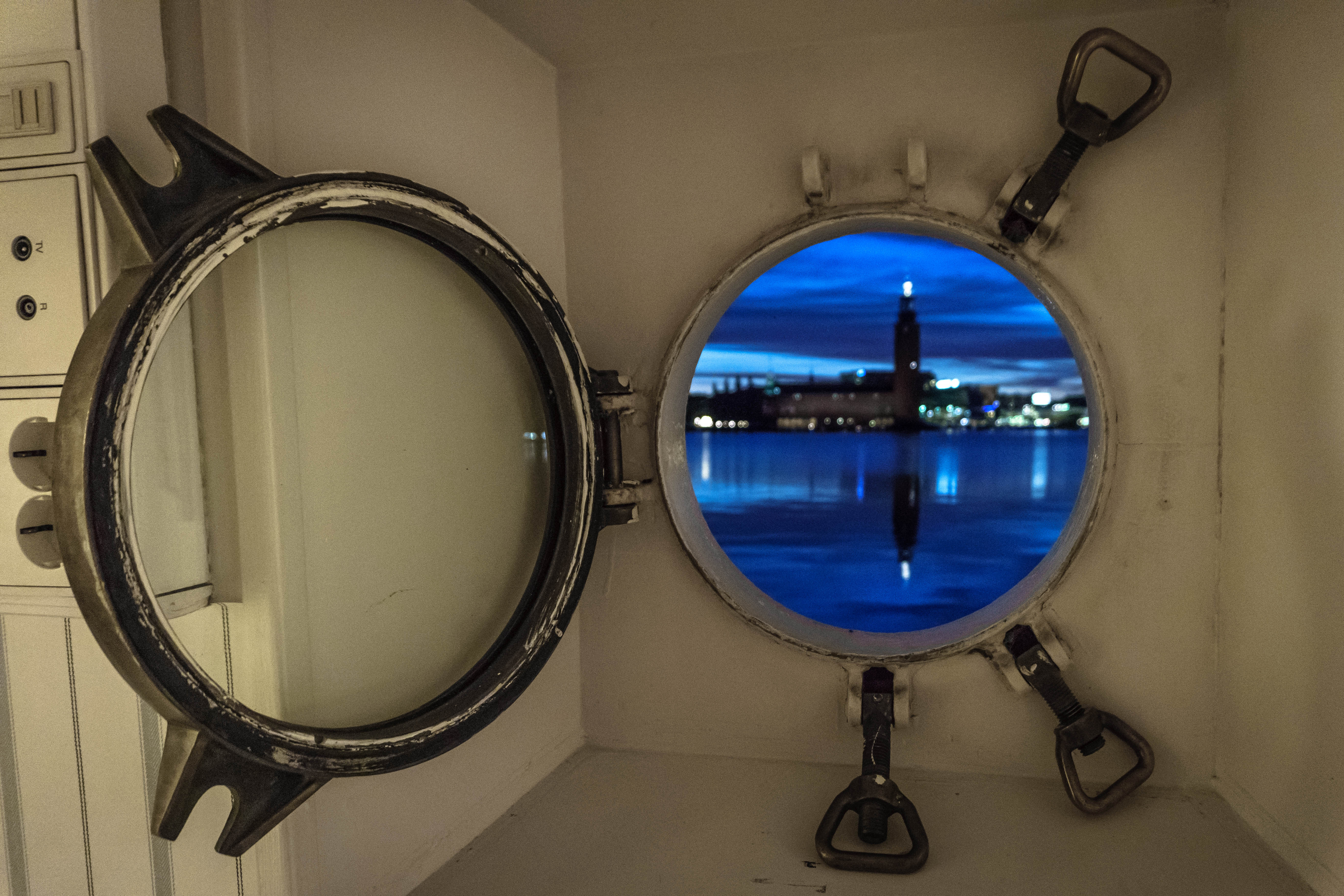 View from the porthole, Loginn Hotel