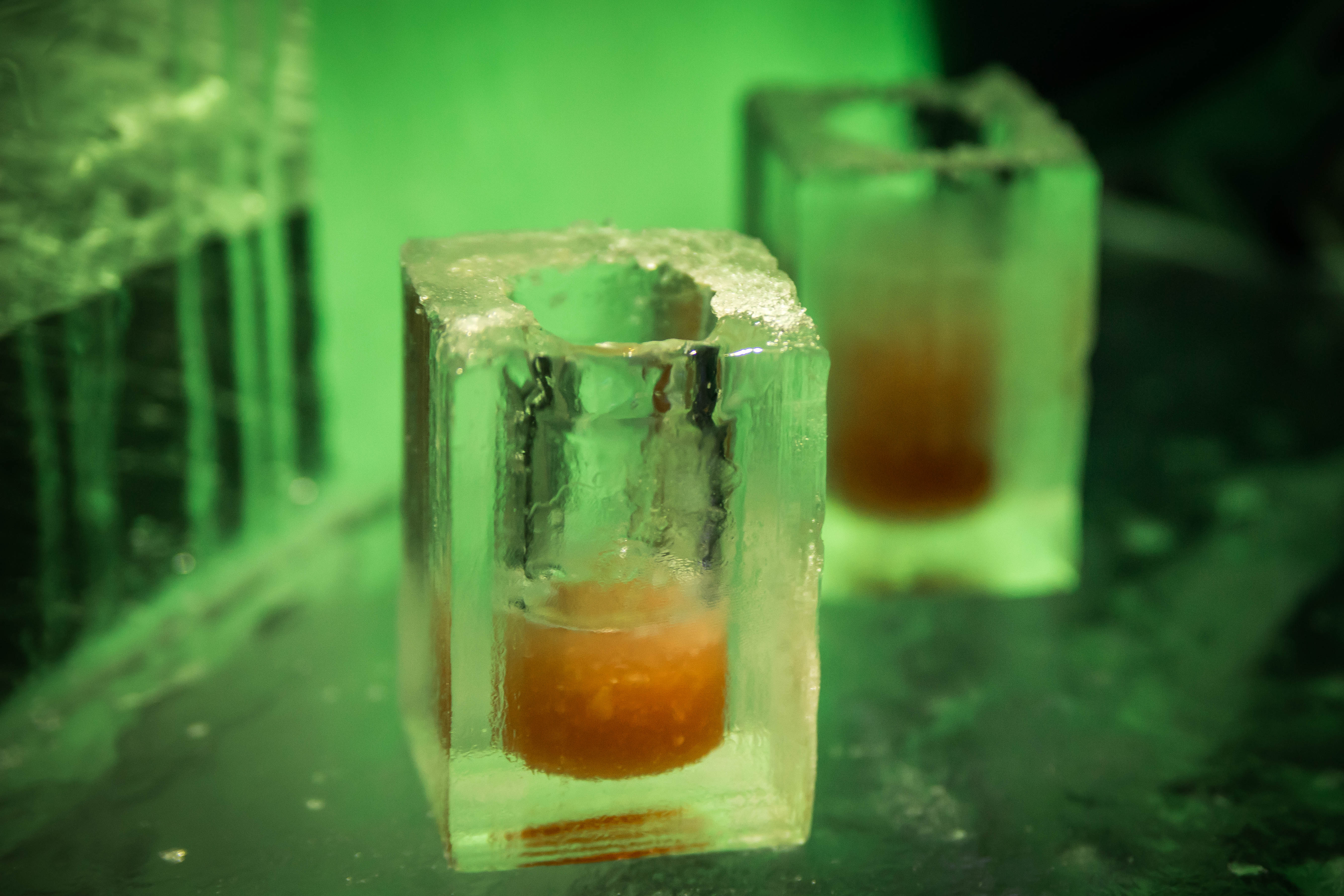 Ice glasses at the ice bar